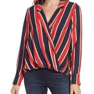 Gibson Striped Faux Wrap Blouse Nordstrom
